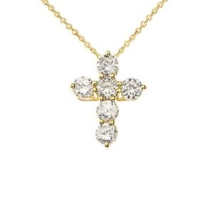 Yellow Gold Cross Elegant Pendant Necklace (MIniTinyX-SmallSmall)