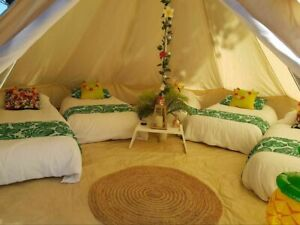 Single Door 6M Large Cotton Canvas Bell Tent Glamping British Yurt Camping Tent