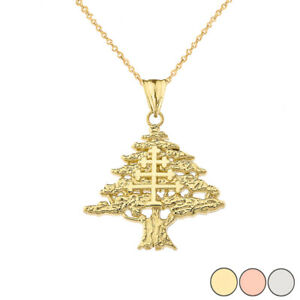 Solid Gold Lebanese Cedar Tree With Maronite Cross Pendant Necklace.