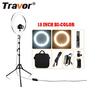 Travor 18'' Dimmable Bi-color LED Ring Light Video Continuous Stand Lighting Kit