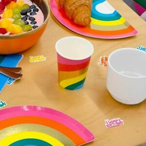 Rainbow Paper Party Cups x 12 Partyware