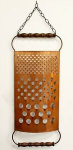 Mid Century Modern Curtis Jere Signed Copper Cheese Grater Wall Sculpture 1970s