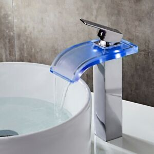 Bathroom Vessel Sink Faucet Co-crystal LED Waterfall Glass Single Hole Water Tap  $109.51
