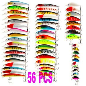 56pc Fishing Lures Crankbaits Hook Minnow Bait 6 Size Tackle Crank Fishing Kit R