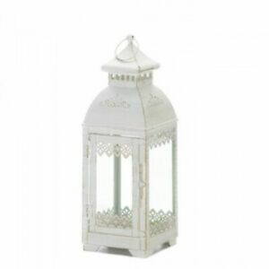 LACE 13in Distressed White Lantern Candleholder Wedding centerpieces