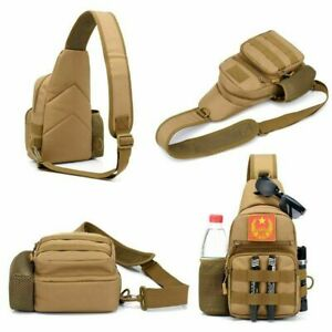 Small Tactical Sling Chest Pack Bag Molle Daypack Backpack IPad Mini Military