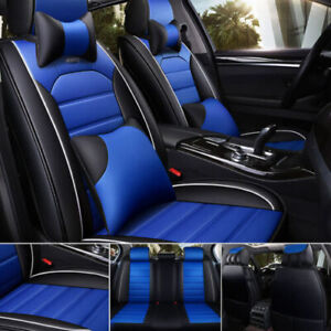 US Luxury 5 Seats Car Seat Cover PU Leather Front&Rear SUV Cushion Set Universal