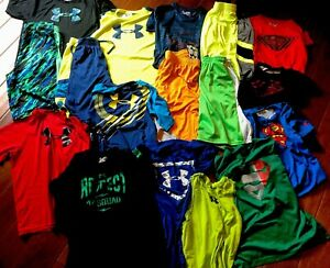 Boys Under Armour Youth XL Lot Of 17 Pieces! Shorts Shirts Tanks EUC Camp School