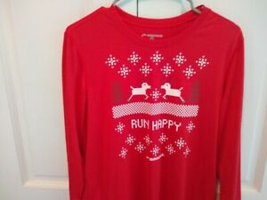 Brooks Women's Run Happy Red Christmas Long-Sleeve Running Shirt Size S Small