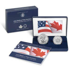 2019 Pride of Two Nations Silver 2pc. U.S. Set Box OGP & COA