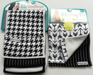 Closeout! Lot of 2 Blk/Wht Bitsy Bibs and 2 Pocket Burp Cloths by Bazzle Baby
