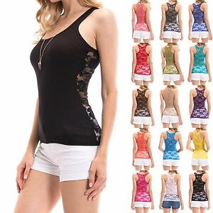 NEW SEXY Lace Racerback Ribbed Solid Tank Top Sleeveless Shirts $9.45
