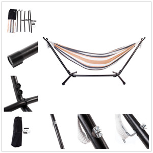 Portable Two Person Outdoor Hammock Swing Stripe Hang Bed Travel Camping Hammock