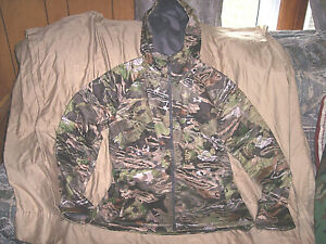 Womens Large Camo Jacket Under Armour Hoodie Quiet Hunting Jacket Hooded $160