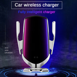 10W Wireless Car Charger Automatic Clamping Fast Charging Mount GPS Smart Sensor