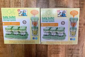 Magic Bullet BABY BULLET Storage System TWO FULL SETS-8 Pieces  Bonus To Go Tube