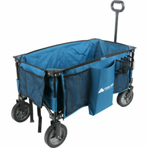 WAGON Quad Folding Utility Buggy Cart Outdoor Blue Camping Picnic Pool Beach Lak
