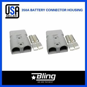 2x Universal 350AMP Grey Connectors wTerminal Power Plug DC Battery Connector