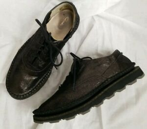 Clarks Oxfords Metallic Bronze Collection Platform Cunky Sole Size 8.5 M $52.50