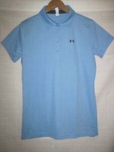 Under Armour Heat Gear polo golf shirt girls XL blue