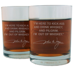 John Wayne Famous Quote Etched Whiskey Glass Set