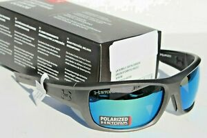 UNDER ARMOUR Rumble POLARIZED Sunglasses Satin CarbonGreen Storm NEW $160