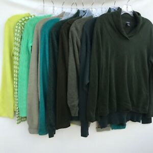 Lot of 10 100% Cashmere Sweaters 4+Lbs Green Cutter Craft Upcycle Repurpose