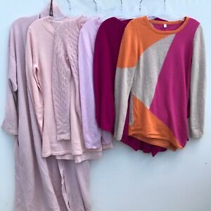 Lot of 7 100% Cashmere Sweaters 4+Lbs Pink Cutter Craft Upcycle Repurpose