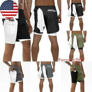 Mens Running Sport Shorts Stretchy with Built-in Pocket Liner Shorts 2 in 1 USA