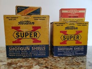 Vintage Lot of 4 Empty Cardboard Ammunition Boxes Winchester Peters Western