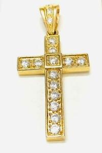 10K Solid  Yellow  Gold Cross Charm Pendant Religious Jewelry