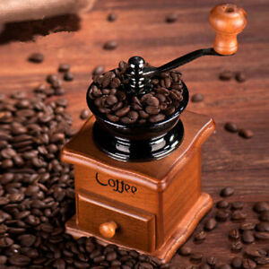 New Manual Hand Crank Wooden Metal Coffee Pepper Herb Mill Spice Grinder