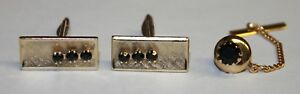 Gold Tone & Black Rhinestone Cufflinks & Tie Tack Set Rectangle & Round Tac Vtg