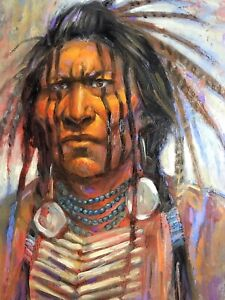 Sioux Native American Indian Warrior Original Oil Scottsdale Traditional Western
