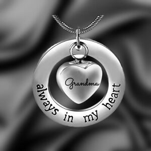 Loved Mom&Dad Heart Ashes Urn Necklace Keepsake Cremation Pendant Jewelry Rage