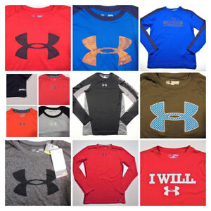 Youth Boys UNDER ARMOUR SHIRTS All Sizes Long Sleeve School Casual Play