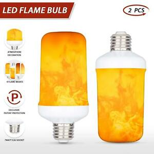 2x LED Flicker Flame Light Bulb Simulated Burning Fire Effect Festival Party E27