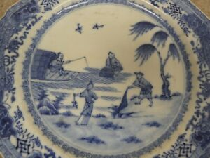 Antique Very Unusual Chinese Blue & White Fishermen Plates x 3