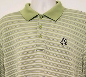 Under Armour Polo Golf Shirt Large Green Striped Mens MEADOWBROOK COUNTRY CLUB $16.99