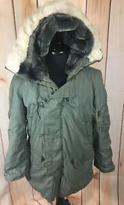 US Military Extreme Cold Weather Vintage Parka N3B Lancer Green Mens Small