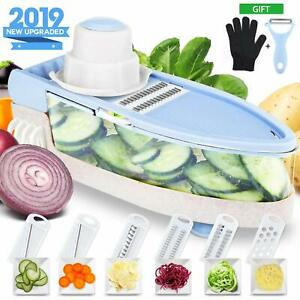 7 in 1 Mandoline Slicer with Cut Resistant Glove Veggie Slicer Stainless Steel