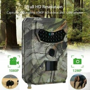 26-LED 1080P 12MP Night Vision Monitoring Trail Camera for Warehouse Hunting USA