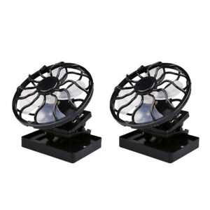 2x Solar Power Portable Fan Clip-on Cooler Travel Fan Outdoor Camping Hiking