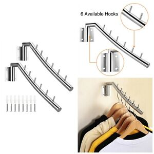 Clothes Hanger Rack Wall Mounted Stainless Steel Hooks With Swing Arm Holder New