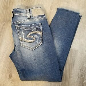 Silver Jeans Womans Suki Distressed Skinny Crop 30
