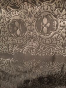 SILVER BLACK SKULL GOTHIC PIRATE BROCADE FABRIC