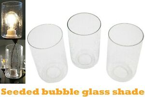 3 Pack Seeded Glass Shade Clear Bubble Cylinder for Light Fixture Pendant Wall
