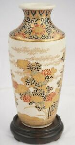 Antique Japanese Imperial Satsuma Gosu Blue Signed Vase 7 Inches in Height