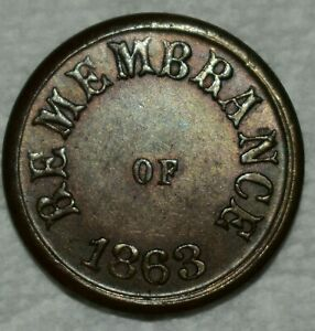 Uncirculated 1863 Remembrance/Not One Cent Civil War Token!
