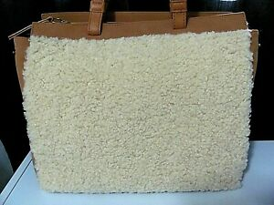 Universal Thread Purse Faux Leather Cognac/Sherpa Zip Closure
